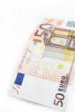 Euro som femtio isoleras på vit bakgrund Arkivfoto