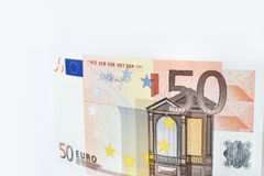 Euro som femtio isoleras på vit bakgrund Arkivbild
