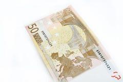 Euro som femtio isoleras på vit bakgrund Arkivbilder