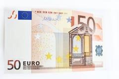 Euro som femtio isoleras på vit bakgrund Fotografering för Bildbyråer