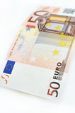 Euro som femtio isoleras på vit bakgrund Royaltyfria Foton
