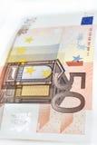 Euro som femtio isoleras på vit bakgrund Royaltyfria Bilder