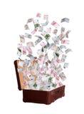 Euro som flyger ut ur den gamla resväskan Royaltyfria Bilder