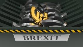 Euro som tappas i dokumentförstörare brexitkrisbegrepp illustration 3d stock illustrationer