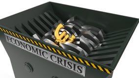 Euro som tappas i dokumentförstörare ekonomisk frambragd hög bild res för begreppskris digitalt illustration 3d royaltyfri illustrationer