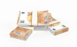 50 euro sorts d'argent formant une pile d'isolement sur le fond blanc Illustration Stock