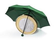 Euro sotto l'ombrello fotografie stock libere da diritti
