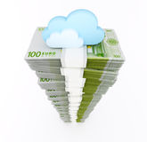 Euro stack with cloud Stock Image