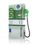 Euro stack with gas nozzle Royalty Free Stock Photo