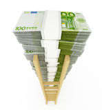 Euro stack with ladder Royalty Free Stock Image