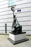 Euro. Statue in front of European Parliament Royalty Free Stock Photos