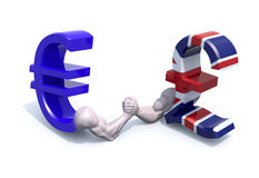 Euro and sterling symbol currency make arm wrestling Royalty Free Stock Images