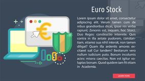 Euro Stock Conceptual Banner. Great flat illustration concept icon and use for currencies, payment, business and much more Royalty Free Stock Photo