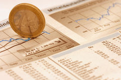 Euro stock market. Stock market analyses witha euro and grapics in a newspaper Stock Photo