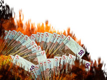Euro stock marketcall or collapse. Money notes in flames. Invest. White background. Burn money concept Royalty Free Stock Photo