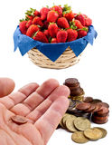 Euro and strawberries Stock Images