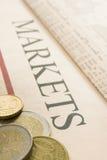 Euro su documento Immagini Stock