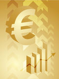 Euro success illustration. Abstract financial success illustration with Euro currency Stock Image
