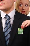 Euro in suit. Thief. Stock Image