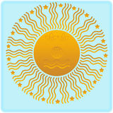 Euro sun. Blue background, with yellow sun Stock Photography