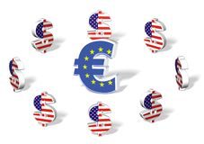Euro surrounded by Dollars. European euro currency surrounded by dollars with flags on white isolated background Royalty Free Stock Image
