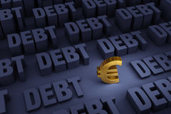 Euro Surrounded By Rising Debt. A small, gold Euro sign stands in a dark background of gray DEBT rising up around it Stock Images