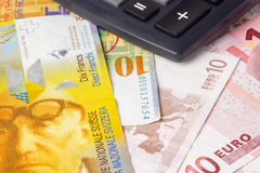 Euro and Swiss currency pair Royalty Free Stock Photo