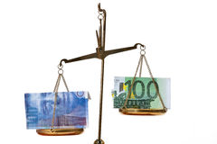 Euro and Swiss Franc on scales Stock Photography