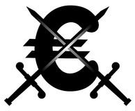 Euro swords emblem Royalty Free Stock Image