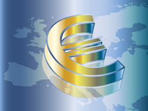 Euro symbol. On the european map Stock Photography