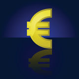 Euro symbol. Glossy illustration of a golden Euro symbol, reflected on a dark background Royalty Free Stock Photo