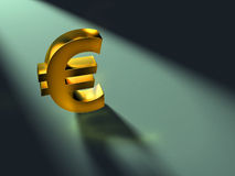 Euro symbol. A golden euro symbol casting its shadow under a spotlight. Digital illustration Stock Images