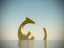 Euro symbol. Sinking in the sea Royalty Free Stock Photos