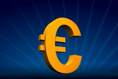 Euro symbol. Rendered yellow Euro symbol on dark-blue with rays on back vector illustration