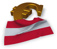 Euro symbol and austrian flag. 3d illustration Stock Photo