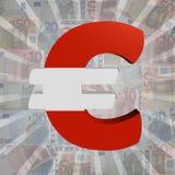 Euro symbol with Austrian flag on Euro currency illustration. Euro symbol with Austrian flag on Euro currency 3d illustration Royalty Free Stock Photo