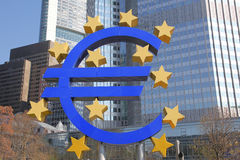 Euro symbol and bank area in Frankfurt Royalty Free Stock Images