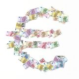 Euro symbol with bank notes Stock Image
