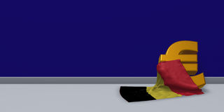 Euro symbol and belgian flag. 3d illustration Royalty Free Stock Photography