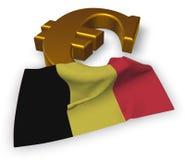 Euro symbol and belgian flag. 3d illustration Royalty Free Stock Photos