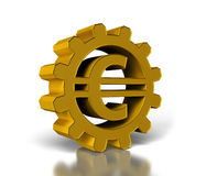 Euro symbol. Big gold gears with a euro symbol Stock Photography