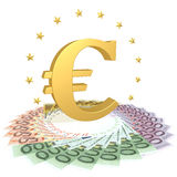Euro symbol on the bills. Gold Euro sign on the euro banknotes with the stars Stock Images