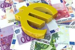 Euro symbol on bills of same Stock Photo