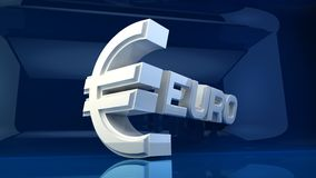 Euro symbol with blue background Royalty Free Stock Photos
