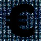 Euro symbol on blue hex code illustration. Euro symbol on abstract shades of blue hex code background illustration Stock Images
