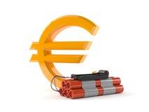 Euro symbol with bomb. Isolated on white background Royalty Free Stock Image
