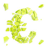 Euro symbol breaking into small green glossy pieces. Euro economy collapse metaphor as currency symbol breaking into small green glossy pieces isolated on white Stock Photos