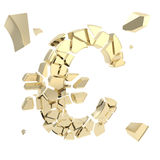 Euro symbol breaking into small shiny golden glossy pieces. Euro economy collapse metaphor as currency symbol breaking into small shiny golden glossy pieces Royalty Free Stock Photography