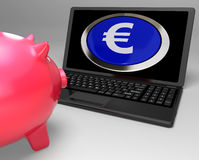 Euro Symbol Button On Laptop Showing Savings Stock Images
