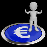 Euro Symbol Button Shows Money And Investments Stock Photo